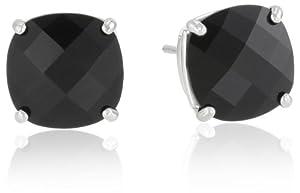 10k White Gold 8mm Checkerboard Cushion Black Onyx 4-Prong Stud Earrings