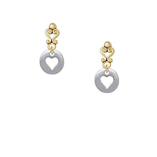 Pebble With Heart Cutout Gold Tone Filigree Heart Earrings