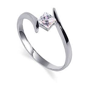 TD2030-7 Sterling Silver Princess Cut 5mm Clear CZ 2mm Band Promise Ring Size N