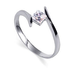 Nickel Free Sterling Silver Princess Cut 5mm Clear Cubic Zirconia Polished Finish 2mm Band Promise Ring Size 9