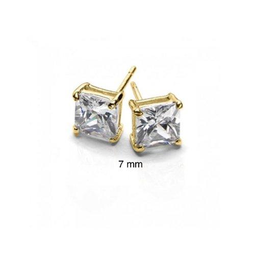 Bling Jewelry Gold Vermeil Basket Set Square Princess Cut CZ Unisex Stud Earrings (2ct 7mm)
