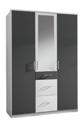 Wimex-147629-Kleiderschrank-135-x-199-x-58-cm-3-trig-mit-zwei-groen-und-einen-kleinen-Schubkasten-1-Spiegel-Front-und-Korpus-alpinwei-Absetzungen-anthrazit