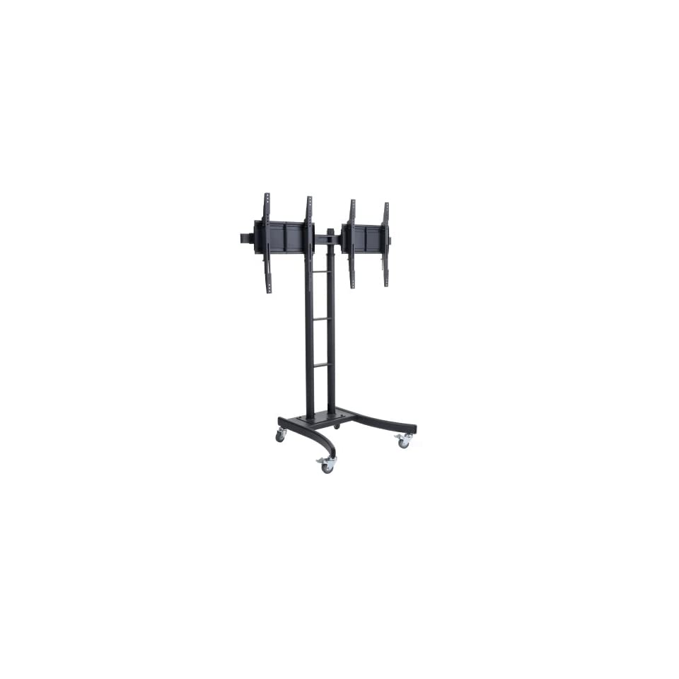 Displays2go MB895DHBK Floor Stand for TVs and Dual Monitor Mount with Side By Side Brackets for 24 Inch to 55 Inch LCD Monitors