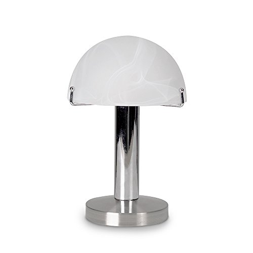 Modern Designer Style Touch Dimmer Bedside Table Lamp with Brushed Chrome Base and Marbled Opal White Dome Shade