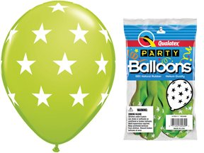 "PIONEER BALLOON COMPANY 5 Count Round Big Stars, 11"", Lime"