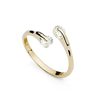 Twin Cubic Zircon Diamond Engagement Ring 18K Gold Plated, Fashion Jewellery,Perfect Gift for Women