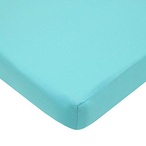 American Baby Company 100% Cotton Percale Fitted Portable/Mini Crib Sheet, Aqua (Mini Crib Sheet Deep compare prices)