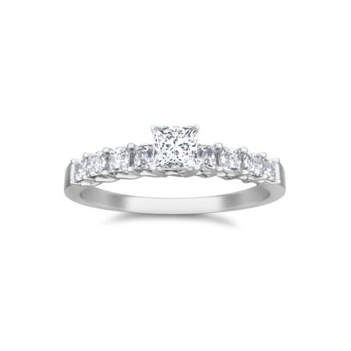 0.6 CaratPrincess cutDiamondInexpensive Diamond Engagement Ring10K WhiteGold