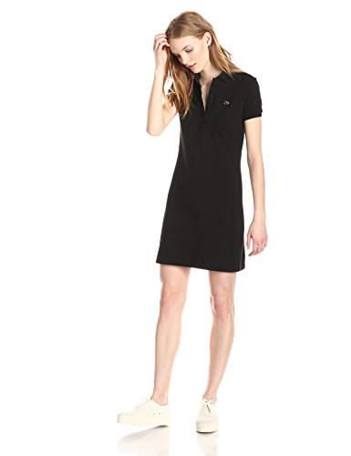 Lacoste Women's Short Sleeve Classic Pique Polo Dress, Black, 40