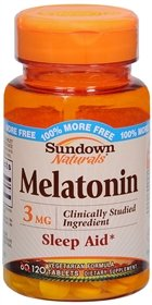 Sundown Naturals Melatonin Nighttime Sleep Aid Tablets, 3 mg, 60-Count Bottles (Pack of 3)