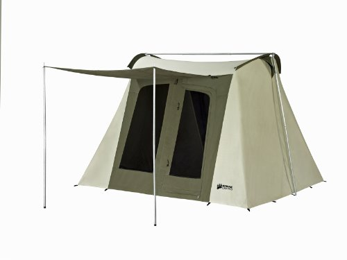 green and cream cotton canvas tent