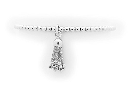 [Silver Rhodium Plated 3 mm Beads Elastic Bracelet with Tassel] (The 3 Amigos Costume)