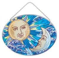 Joan Baker Designs MO138 Celestial Art Glass Suncatcher, 7 by 5-1/4-Inch
