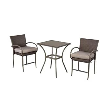 3-Piece Balcony Height Patio Furniture Bistro Set, Stackable Chairs, Powder-Coated Steel Frame, Gray Finish, Seats 2