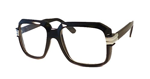 retro gazelle run dmc rap nerd dj square frame clear lens eye glasses blacksilver