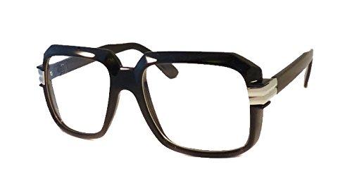 retro gazelle run dmc rap nerd dj square frame clear lens eye glasses blacksilver