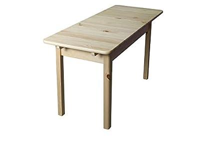 Massivholz Tisch 120x60 cm Kiefer, Ausziehbar auf 150, Farbe: Natur
