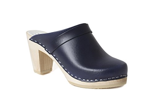 Image of Maguba Womens Stockholm High Heel Clog, Dark Blue, 38