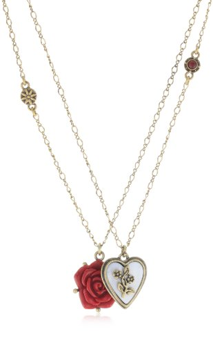 Lucky Brand Carved Heart and Flower Necklace