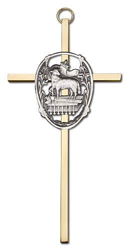 6 inch Antique Gold Lamb of God on a Polished Brass Cross