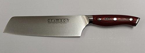 "Japanese 7"" Nakiri Knife Crimson Series With G10 Handles Traditional Ergonomic Handle"