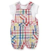 2 Piece Pure Cotton T-Shirt & Checked Bibshort Dungaree Outfit