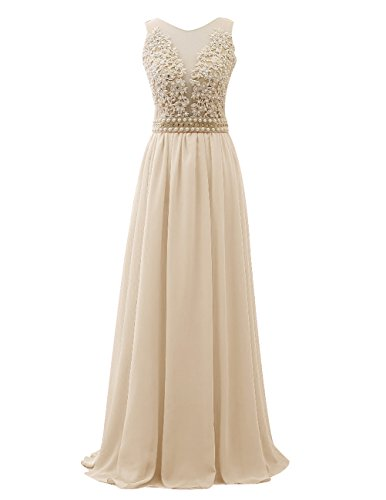 Dresstells® Long Prom Dress V-neck Bridesmaid Dress See Through Evening Gown Champagne Size 8