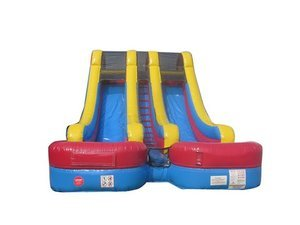 Wet or Dry Slide Inflatable 18 Feet High Double Bay Includes Two 1.5 Hp Blowers