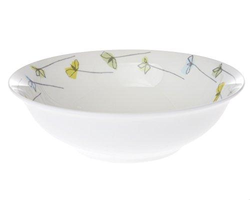 Belle tazze di porcellana Londra crescione giallo senape e ciotola di cereali, multicolore