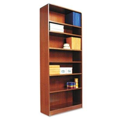 Alera-Radius Corner Wood Veneer Bookcase, 7-Shelf, 35-3/8 x 11-3/4 x 84, Medium Cherry