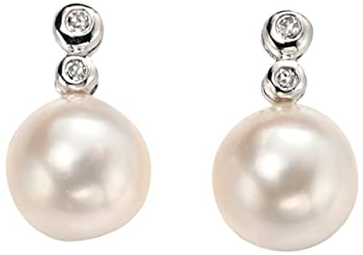 Elements Gold Ladies 9ct White Gold Freshwater Pearl and Diamond Earrings