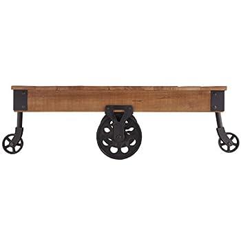 Homelegance Factory Modern Industrial Style Coffee Table, Rustic Brown
