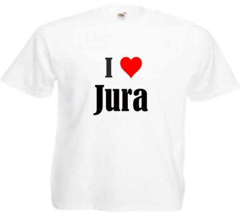 """Herren T-Shirt """"I Love Jura""""Größe""""M""""Farbe""""Weiss""""Druck""""Schwarz"""