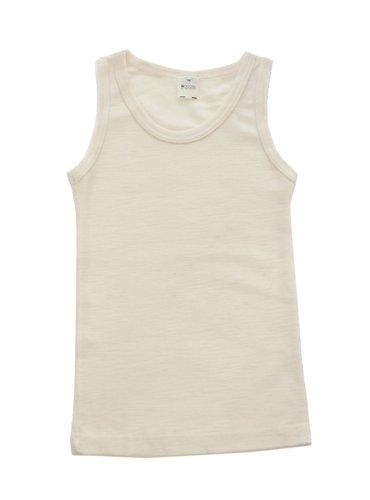Little Girls Organic Wool-Silk Sleeveless Undershirt, White, Size 116/6 Yr