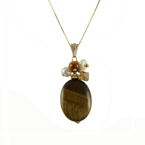 Tiger's Eye 18ct Gold Vermeil Gemstone Pendant Necklace