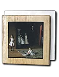 BLN Paintings of Children Fine Art Collection - The Daughters of Edward D. Boit, 1882 by John Singer Sargent - Tile Napkin Holders - 6 inch... by 3dRose