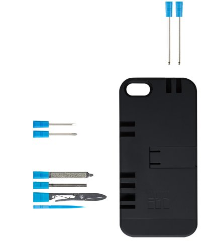 IN1 Multi Tool Case for iPhone 5 - Retail Packaging - Black with Blue tools