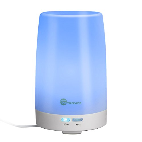 TaoTronics Essential Oil Diffuser, 100ml Ultrasonic Humidifier Portable Aromatherapy Diffuser, Aroma Diffuser with Cool Mist and Color Changing LED Lights, Silent Buttons (Coloured Fog Lights compare prices)