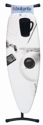Brabantia Ironing Board with Black Silicone Heat Pad, Size D, 135 x 45cm, 35mm Black Frame, Breakfast Cover