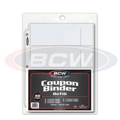 BCW Coupon Saver Starter Refill Pack Coupon Binder Storage Pages 5 Different 3 Ring Album Page Styles 40 PLUS 1 Pages Extreme Couponing PREMIUM PAGES