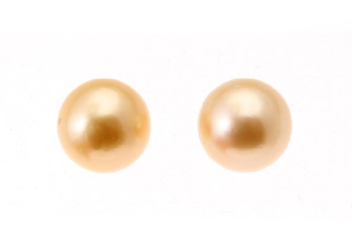 11-12mm Gold South Sea Pearl Stud Earring with 18K Yellow Gold Post & Butterfly