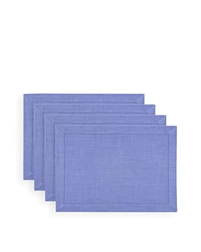 KAF Home Set of 4 Rustic Placemats, Periwinkle