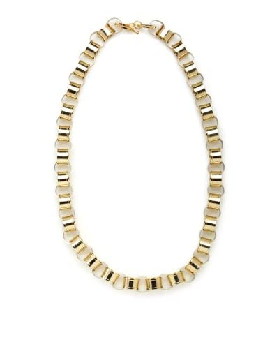 CC Skye Gold Long Paper Link Leather Necklace