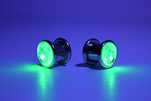 Single LED Light up Ear Gauge Plug (Size: 10mm – 3/8″- 00g)