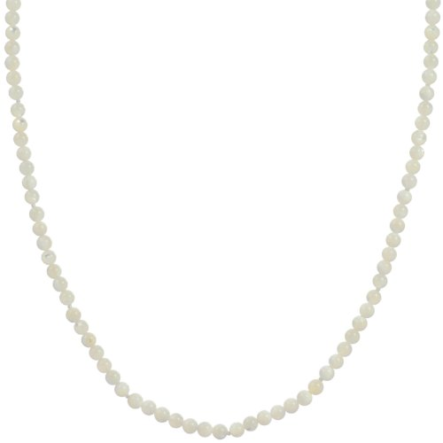 Sterling Silver 4mm White Mother-Of-Pearl Knotted Necklace, 17