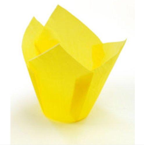 Moldes para magdalenas (50 unidades), diseño de tulipán, color amarillo