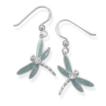 Light Blue Enamel and CZ Dragonfly Earrings