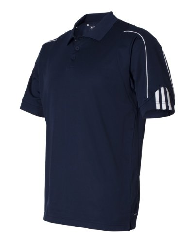 Adidas Golf Men's ClimaLite 3-Stripes Cuff Polo Sport Shirt. A76 – X-Large – Navy / White