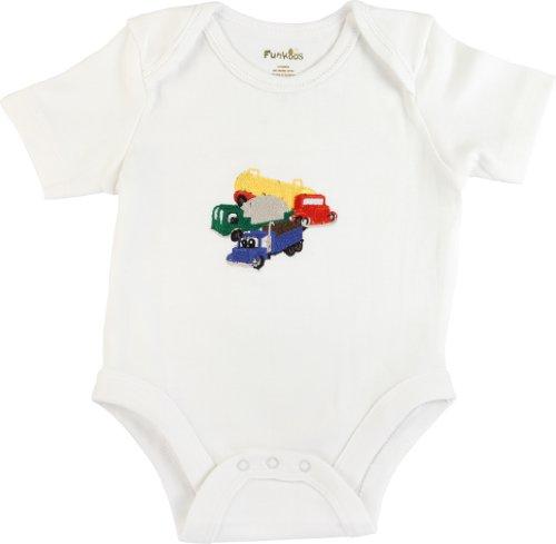 Funkoos Trucks Organic Baby Boy Bodysuits, Short Sleeve, Infant/Newborn/Baby, 9-12 months:9 - 12 mon