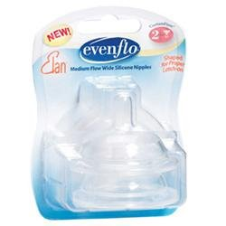 Evenflo Medium Flow Wide Silicone Nipple - 2 Pack - 1